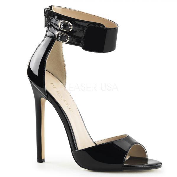 High Heel Sandalette mit breitem Fesselriemchen schwarz Lack SEXY-19
